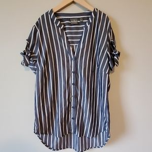 Soho Jeans Striped Button Up Blouse